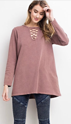Slouchy Fit Lace-up Top