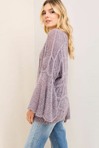 Boat-neck Bell sleeve Sweater