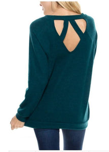 Green Cut-out back Sweater
