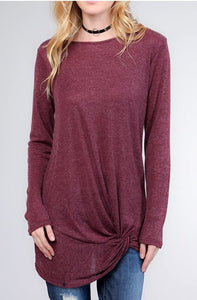 Knot front tunic top