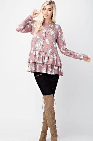 Ruffle tiered bottom floral top