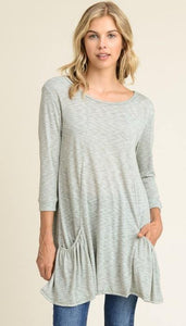 3/4 sleeve striped tunic