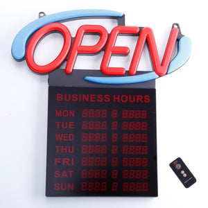 AOPB-20 - Oval OPEN Sign With Business Hours