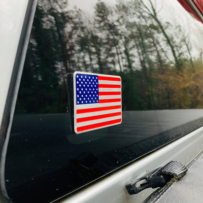 Aluminum American Flag Car Decal (MADE IN THE USA)