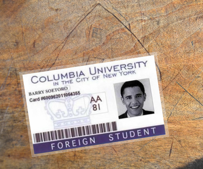 Barack Obama Foreign Student ID card (2-sided)