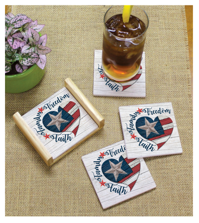 Faith, Family, & Freedom Stone Coasters (4 Pack)