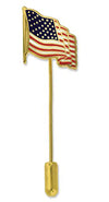 Waving American Flag Stick Pin