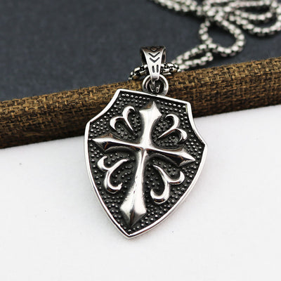 Vintage Steel Crusaders Cross Necklace