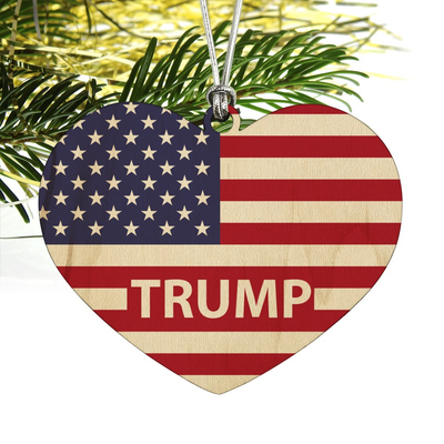 Trump American Flag Heart Ornament (Wooden)
