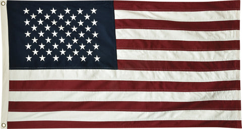 Embroidered, Heavy Weave Cotton American Flag (34x59 INCHES w/ Grommets)