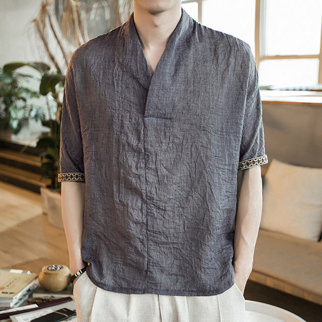 0393c509e Chinese Style Vintage Men's Cotton Linen T-shirt V-neck Short Sleeve Linen  Clothing