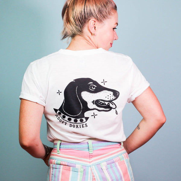 dachshund tee by bean goods supporting dog rescues. each month bean goods launches a new tee in support of a new dachshund rescue organization. shop for a cause today!
