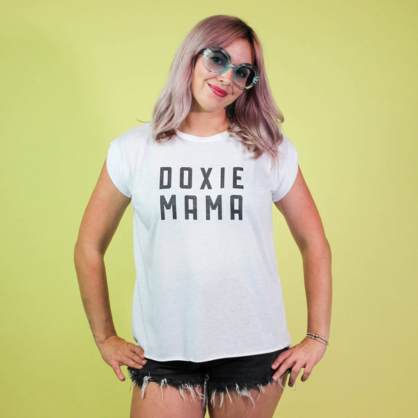 doxie mama tee by bean goods! a staple for any doxie lover's closet!