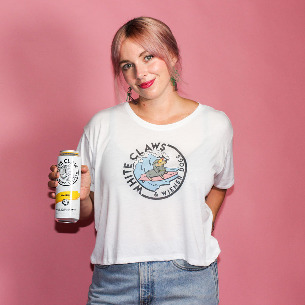 white claw and wiener dogs crop top from bean goods! the theme of summer 2019.