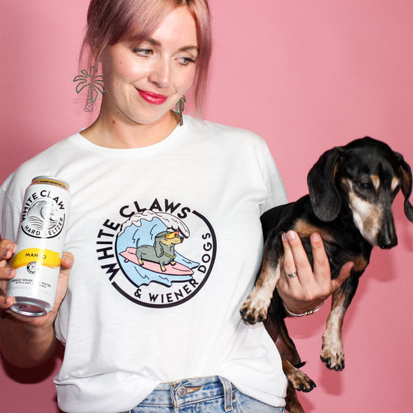 white claw and wiener dogs tee from bean goods! the theme of summer 2019.