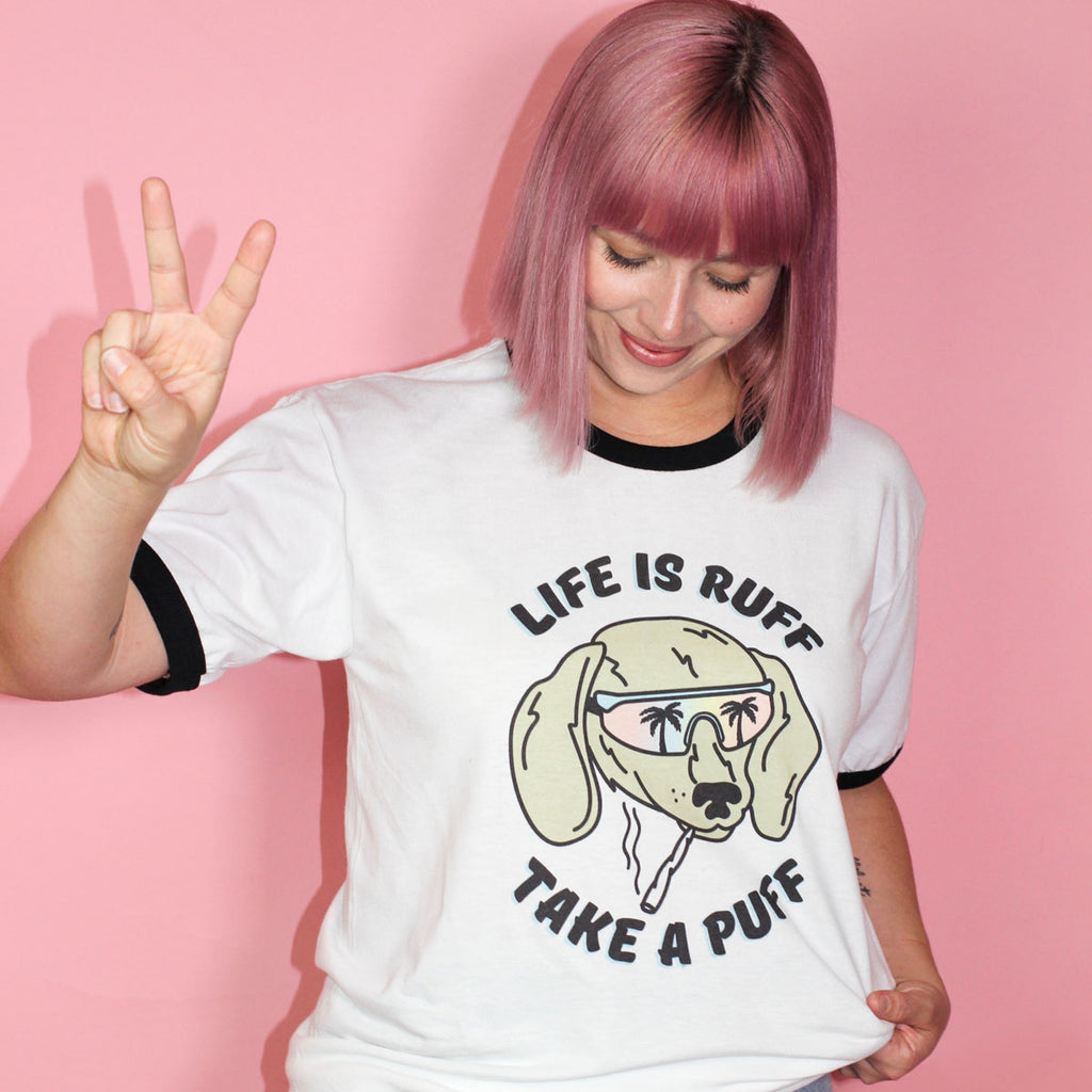 life is ruff take a puff dachshund ringer tee