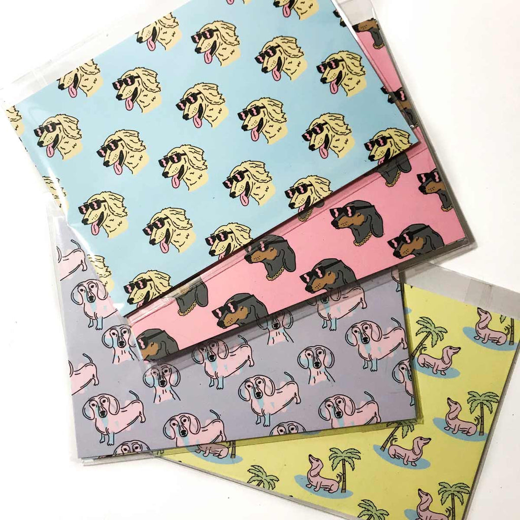 4 pack of dachshund post cards. great dachshund lover gifts for any occasion!