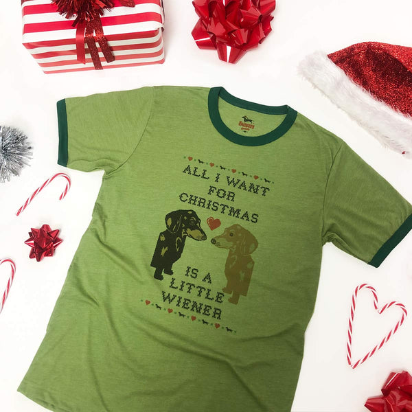 dachshund christmas tee supporting dog rescue