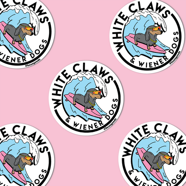white claws and wiener dogs sticker