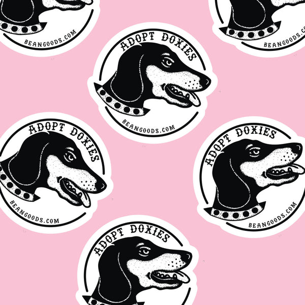 adopt doxies sticker by bean goods! check out bean goods awesome dachshund clothing and accessories today!