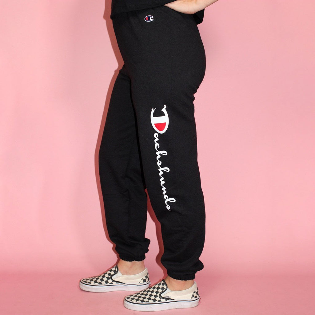 champion x bean goods sweatpants (black) - BeanGoods