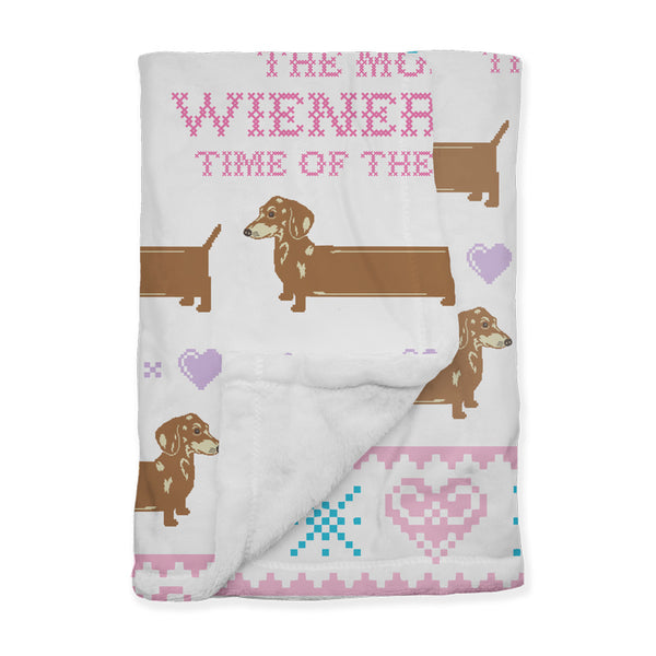 wienerful holiday plush blanket 60