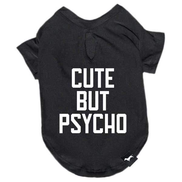 cute but psycho dog tee by bean goods! designed for dachshunds! shop bean goods clothes for dogs today!