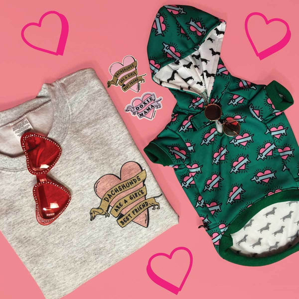 dachshund bundle including dachshund sweatshirts and stickers