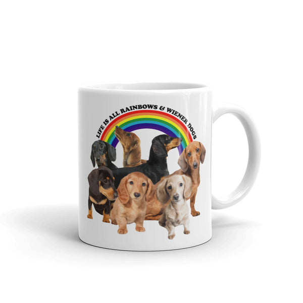 rainbows and wiener dogs mug