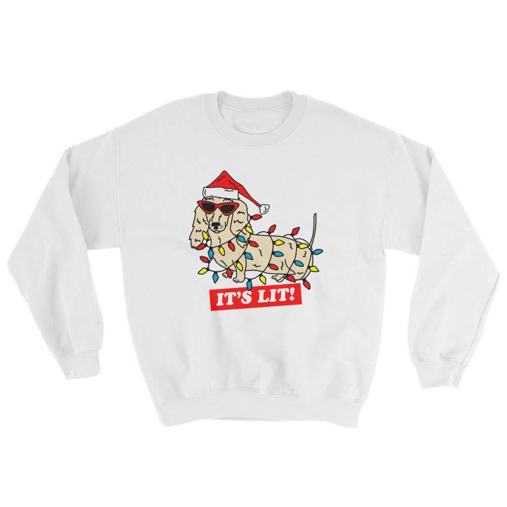 It's Lit Christmas Dachshund Sweatshirt | dachshund clothing brand