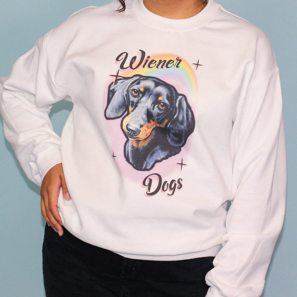 rainbows and wiener dogs unisex crew sweatshirt | black and tan - BeanGoods