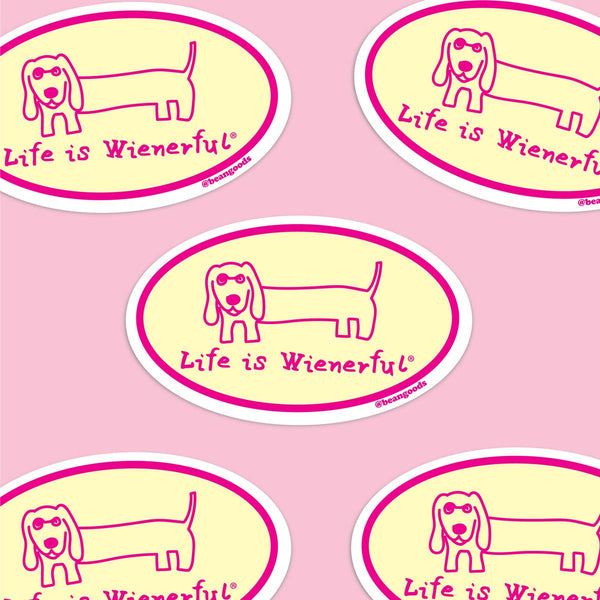 life is wienerful dachshund sticker for car.