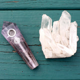 Amethyst Crystal Smoking Pipe- Balance and Reach Spirit, Crystal Pipe - AirandStone