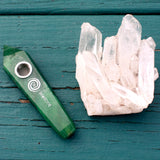 Aventurine Crystal Smoking Pipe- Attract Prosperity, Crystal Pipe - AirandStone