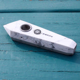 Howlite Crystal Smoking Pipe- Serenity and Self Discovery, Crystal Pipe - AirandStone