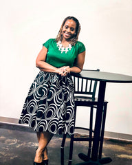black and white african print skirt