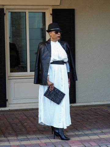 white maxi shirtdress
