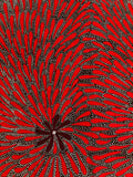 African Print Border Red and Black Swirls