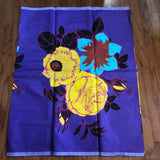African Print Purple and Yellow Big Floral