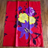 African Print Fabric Red and Purple Big Floral
