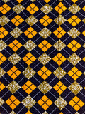 African Print Fabric Blue and Yellow Plaid