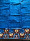 Blue Butterfly Border African Fabric