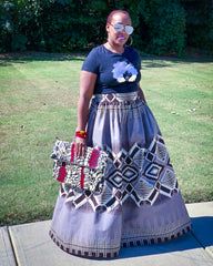 Custom Made African Print Gray and Brown Maxi Skirt