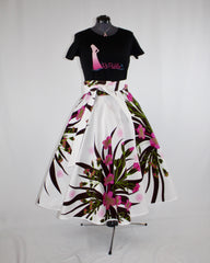 Custom Made African Print White Floral Wrap Circle Skirt