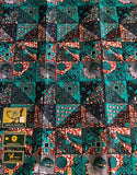Turquoise Patchwork African Fabric
