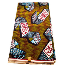 African Print - Olive Green and Blue Abstract