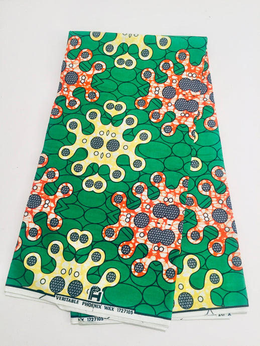 African Print - Green, Orange, Yellow Abstract