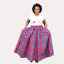 African Print Pink and Blue Maxi Skirt