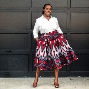 red and purple african skirts