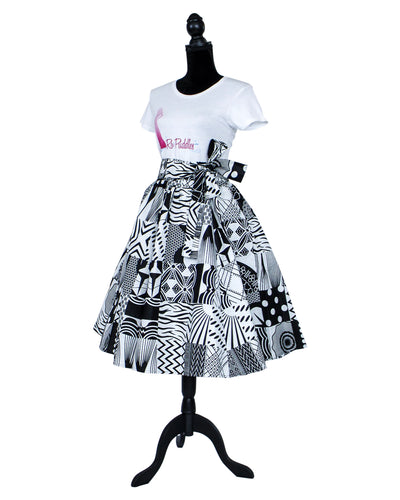 african print black and white midi skirt